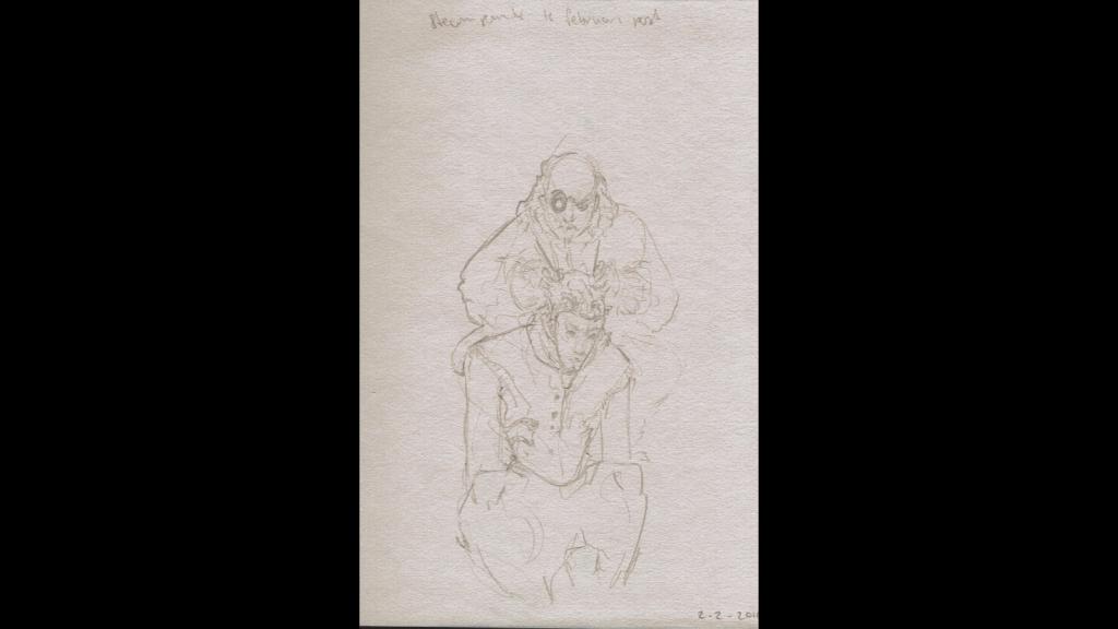 Concept sketch, vampire clockmaker working on clock