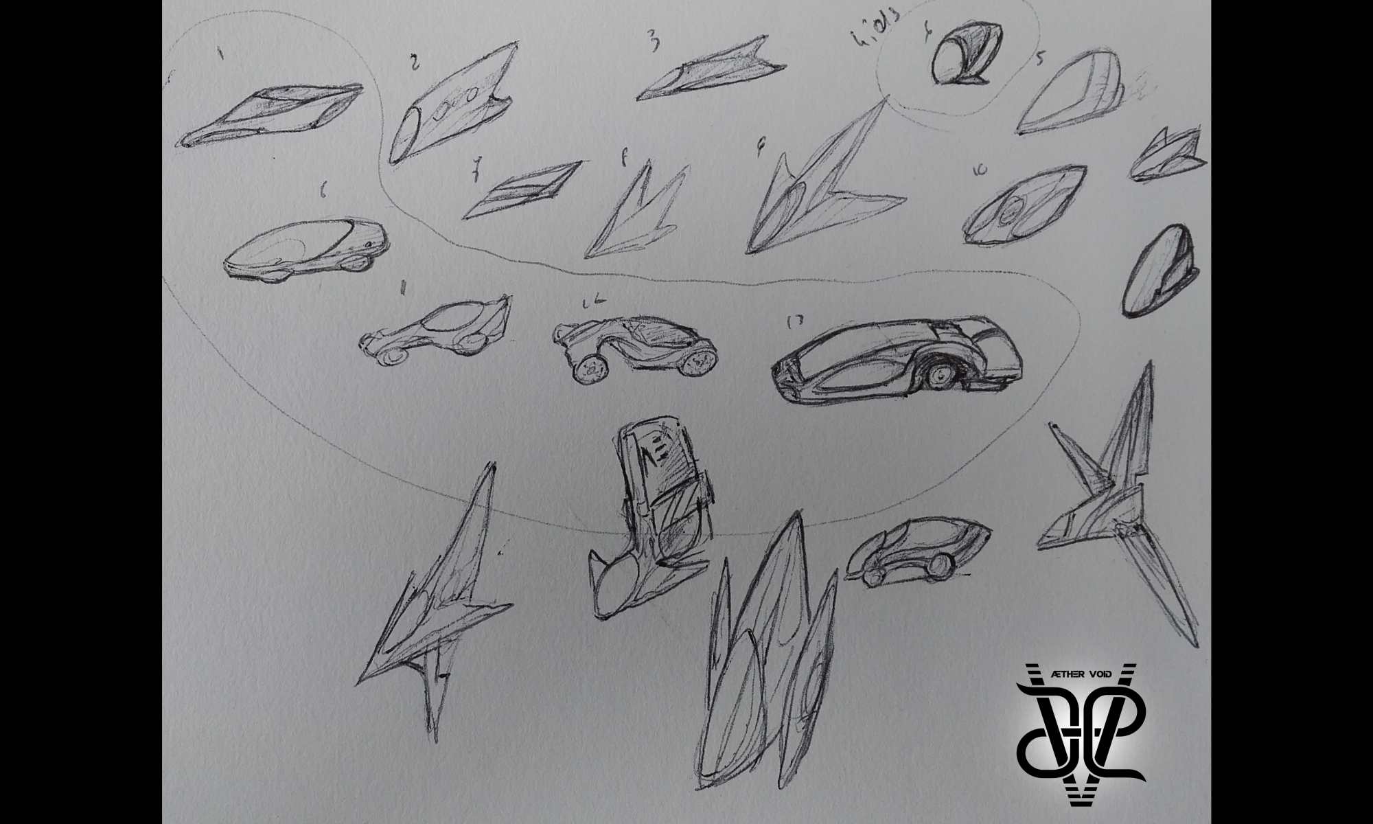 Flying car concepts for Sleeping Dragon, the Æther Void sci world.
